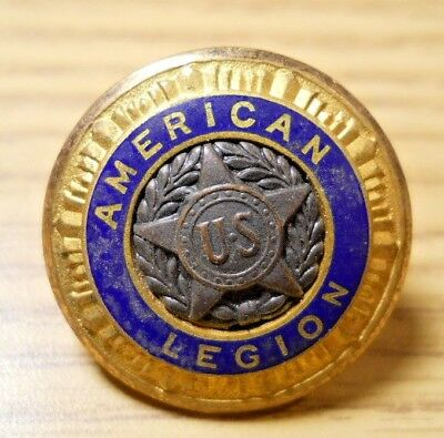 Vintage AMERICAN LEGION Brass Star Blue Enamel Button Pat 54296 '35 Waterbury #9
