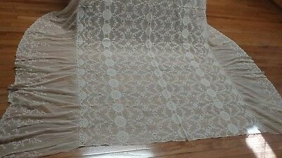 "Antique Alencon lace French net tablecloth bedspread 105""×84"" NOS"