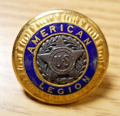 Vintage AMERICAN LEGION Brass Star Blue Enamel Button Pat 54296 '35 Waterbury 10
