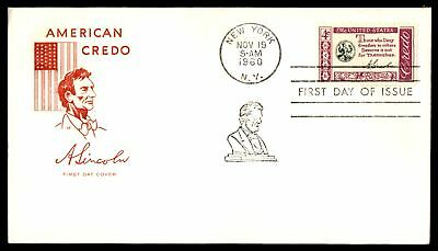 Mayfairstamps LINCOLNS AMERICAN CREDO US 4c ISSUE FARNAM CACHET ON UNSEALED UNAD