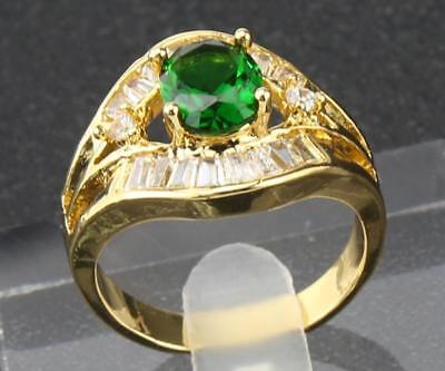 3.40Ct Natural Oval Green  Emerald & Diamond 14Kt Solid Yellow Gold Ring 8.5#