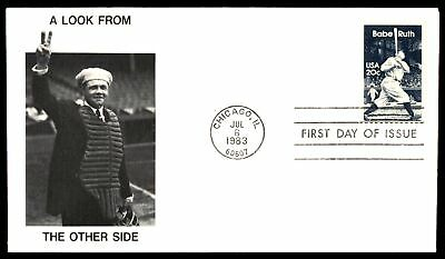 Mayfairstamps BABE RUTH US 20c ISSUE NSC CACHET ON UNSEALED UNADDRESSED FDC