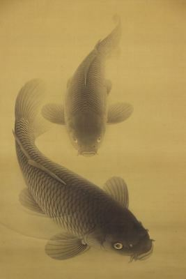 """JAPANESE HANGING SCROLL ART Painting """"Carps"""" Asian antique  #E8169"""