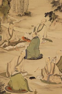 """JAPANESE HANGING SCROLL ART Painting """"Chinese wisemen"""" Asian antique  #E8158"""