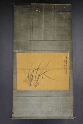 """JAPANESE HANGING SCROLL ART Painting """"Flowers"""" Asian antique  #E8161"""