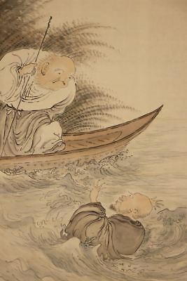 JAPANESE HANGING SCROLL ART Painting  Asian antique  #E8165