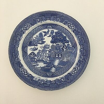 Willow Pattern Flow Blue Plate