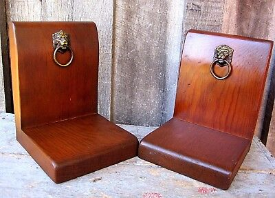 Vintage Heavy Quality Wood With Brass Lion's Head Accent Bookends Home & Garden