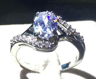 Fine 2.38Ct Natural Oval Clear Diamonds 14Kt Solid White Gold Ring Size 7#