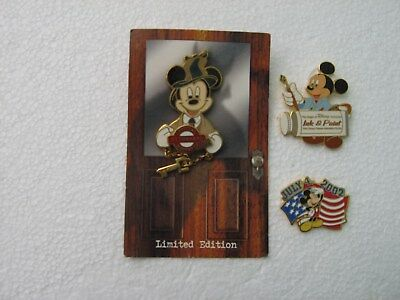 3 Disney Mickey Mouse Pins Limited Edition Epcot Mystery Cast Holiday Animation