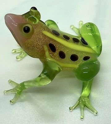 Hand Blown Art glass murano glass Frog Made In Italy