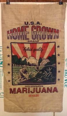 Marijuana Gunny Sack Burlap Bag HOME GROWN BRAND Novelty-FREE SHIPPING!