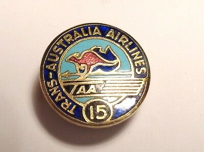 Taa Trans Australia Airlines 15 Years Long Service  Badge /  Pin Marked Stokes