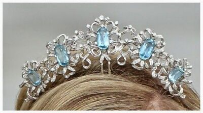 Royal Wedding Natural Rose Cut Diamond Sterling Silver Turquoise Tiara Crown CSJ