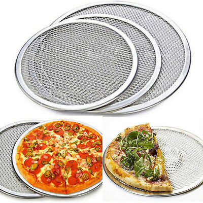 3 Size Seamless Rim Aluminium Pizza Mesh Screen Baking Tray Maker Plates Tools