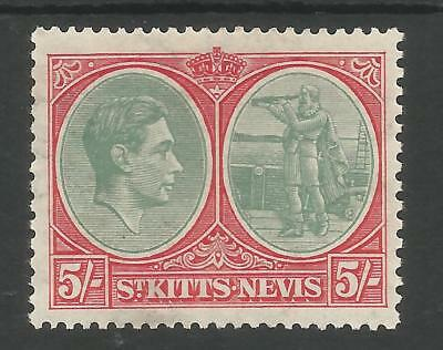 St Kitts Nevis Sg77 The 1938 Perf 13X12 5/- Grey-Green & Scarlet Fine Mint C.£65
