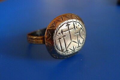British Uk Metal Detecting Find Medieval Bronze Ring Ihs Inscription Christian