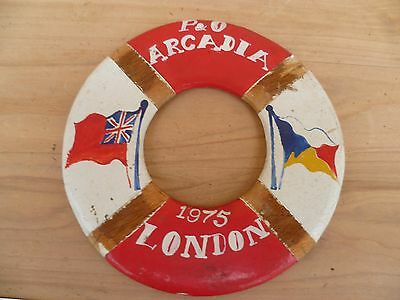 Vintage Old P&o Arcadia 1975 London Life Buoy Souvenir, Old Shipping (F755)