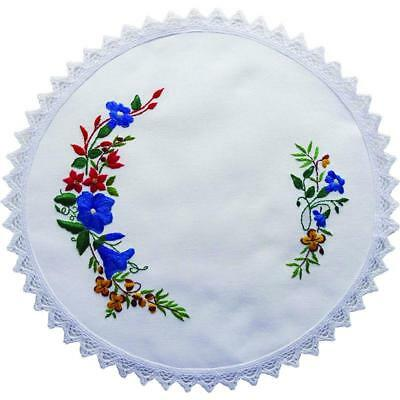 Printed Stamped Embroidery 30cm Doily Hand Stitching AUSTRALIAN BORONIA FLOWE...