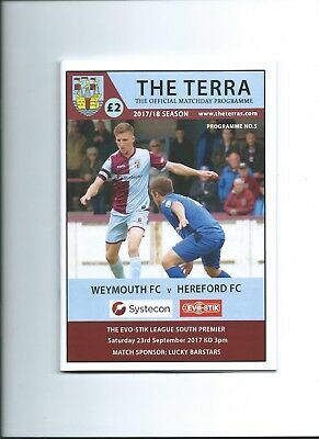 17/18   Weymouth  v Hereford mint condition