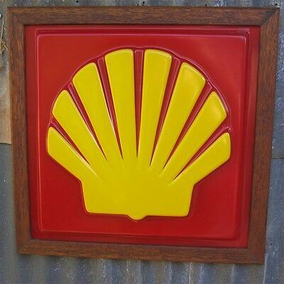 SHELL Petrol Oil Sign  EMBOSSED bar garage gasoline bowser clam -  framed