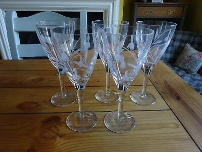 Vintage wine glasses with etching