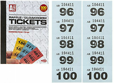 Raffle Ticket Book/cloakroom Tickets /1-500/security Coded/assorted Colours