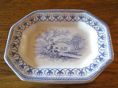 An attractive victorian blue & white childs plate fishing scene