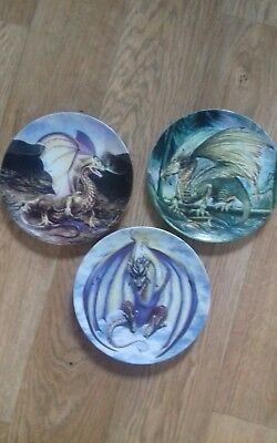 3 X Dragons of Enchantica collectible plates....Free Postage!!