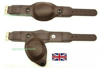 Black or Brown Army Military Style Leather Watch Strap With Cover 18MM 20MM