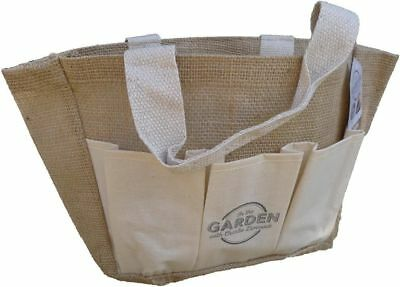 Charlie Dimmock Garden Tool Bag Hessian With Handles & Pocket Multi Purpose Gift