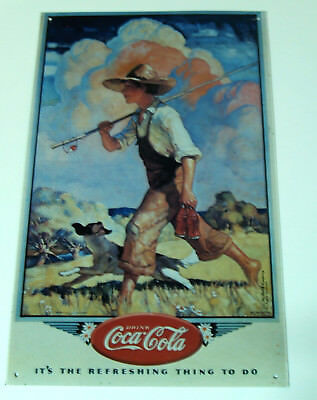 Coca-Cola Emaile-Schild made in USA 1990, Motiv nach N.C. Wyeth, sehr selten