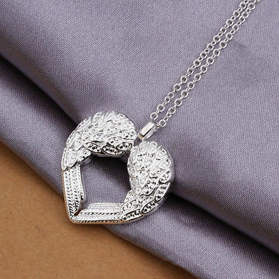 Heart Love Necklace Pendant Charm Chain Lady  Girl 925 Sterling Silver Jewelry