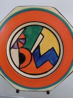 Very Rare Clarice Cliff Abstract Blue W Octagonal Plate