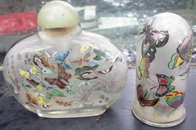 """2 very old pieces of hand made """"Butterfly"""" glass pieces - perfume bottle & tooth"""