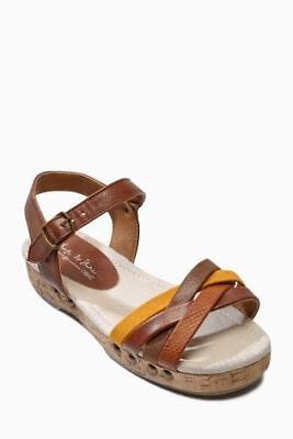 Girls High Street Branded Tan Clog Sandals Size UK 1
