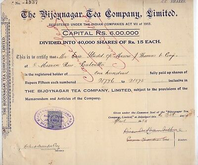 India Rare Share Certificate The Bijoynagar Tea Company Limited 1938.