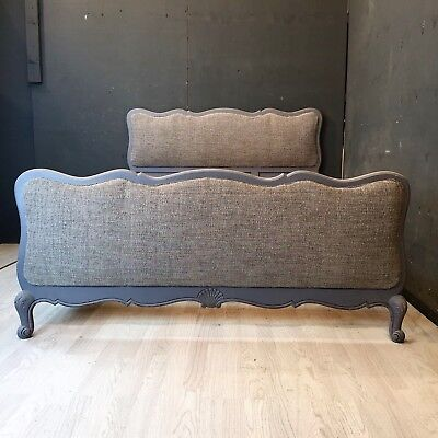 Vintage French upholstered King Bed / painted French Bed (BR488)
