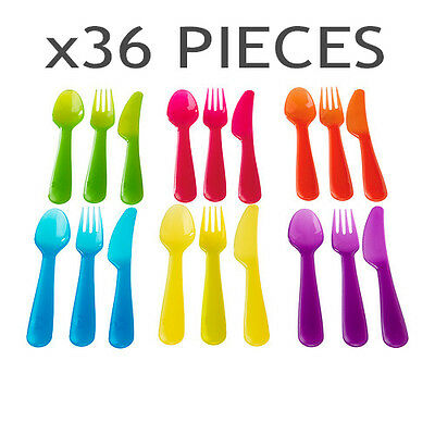 Plastic Cutlery Set Knife Fork Spoon 36 Piece Picnic PARTY Kids Baby NEW IKEA