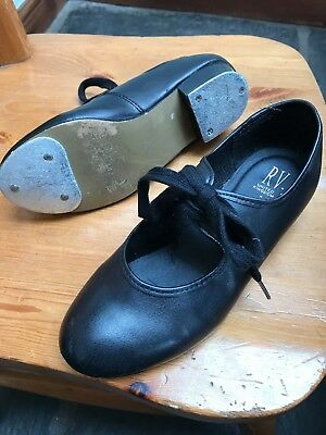 Girls Black Tap Dance Shoes Size 2
