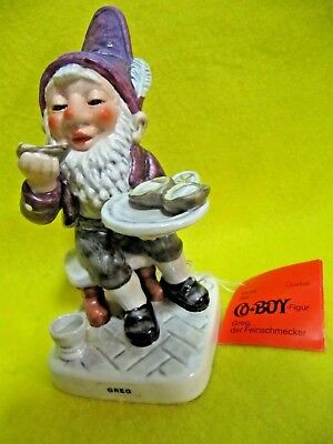Goebel Co-Boy Gnome Figurine GREG #38, Oyster Gourmet Exc. with Tag 1980