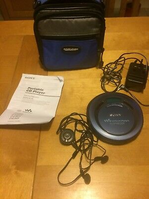 sony walkman cd player D-EJ625 plus instructions, earphones, adaptor and case