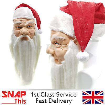 Santa Mask Hair Cosplay Latex Full Face Adult Party Red Father Christmas XMAS