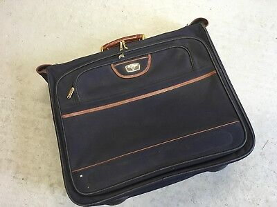 Navy Blue / Leather Antler Suit Luggage Travel Bag Carrier