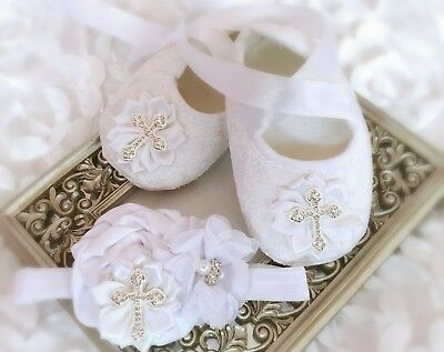 Luxury Baby Girl White Christening Baptism Shoes Cross Satin Flower Headband Set