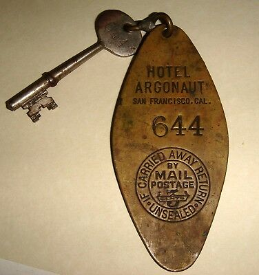 "Antique ""Hotel Argonaut"" San Francisco Brass Fob with Skeleton Room Key ca 1915"