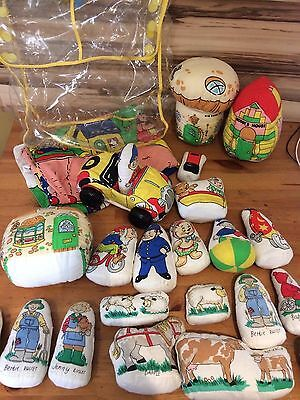 Vintage Baby Boots Noddy Toytown Play Mat  Soft Toys In Carry Bag + farm figures