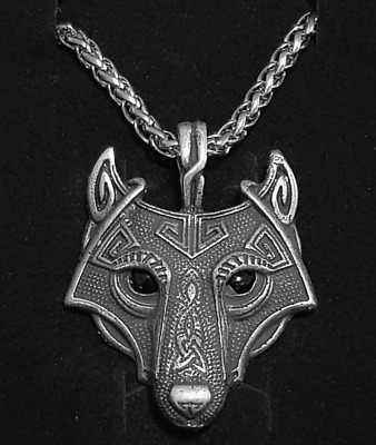 Wolf Head Viking Nordic 60cm Metal Keel Chain Necklace Antique Silver Black Eye