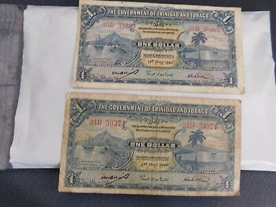 Lot Of 2 1942 The Government Of Trinidad & Tobago 1 Dollar Note Fine