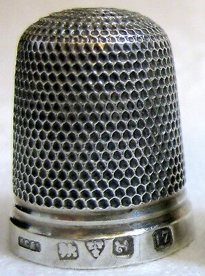 antique Silver THIMBLE by Henry Griffith 1911, embroidery needlework craft